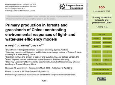 Primary Production in Forests and Grassl... by Wang, H.