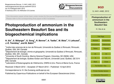 Photoproduction of Ammonium in the South... by Xie, H.