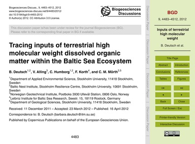 Tracing Inputs of Terrestrial High Molec... by Deutsch, B.