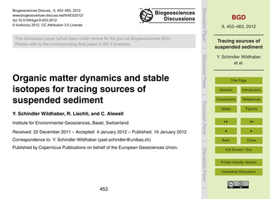 Organic Matter Dynamics and Stable Isoto... by Schindler Wildhaber, Y.