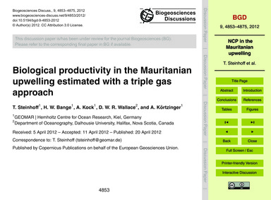Biological Productivity in the Mauritani... by Steinhoff, T.