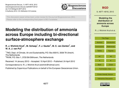 Modeling the Distribution of Ammonia Acr... by Wichink Kruit, R. J.
