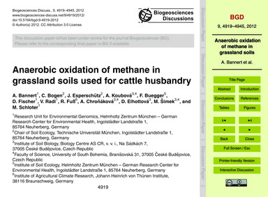 Anaerobic Oxidation of Methane in Grassl... by Bannert, A.