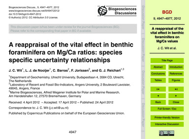 A Reappraisal of the Vital Effect in Ben... by Wit, J. C.