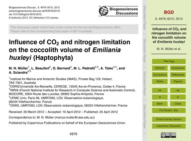 Influence of Co2 and Nitrogen Limitation... by Müller, M. N.
