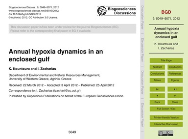 Annual Hypoxia Dynamics in an Enclosed G... by Kountoura, K.