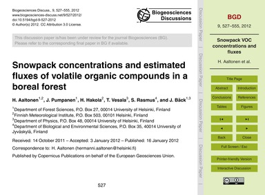 Snowpack Concentrations and Estimated Fl... by Aaltonen, H.