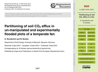 Partitioning of Soil Co2 Efflux in Un-ma... by Wunderlich, S.
