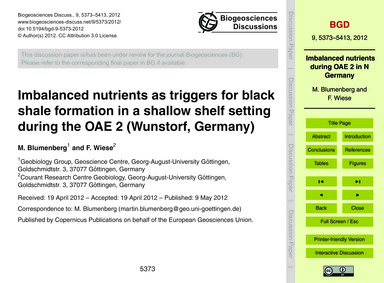 Imbalanced Nutrients as Triggers for Bla... by Blumenberg, M.