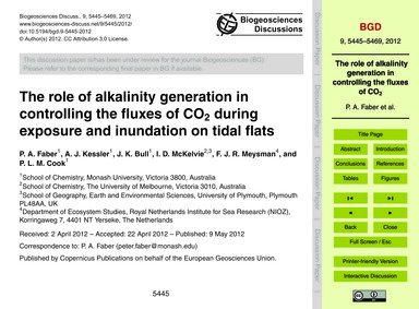 The Role of Alkalinity Generation in Con... by Faber, P. A.
