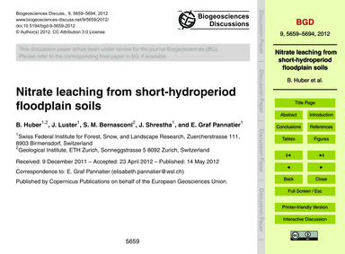 Nitrate Leaching from Short-hydroperiod ... by Huber, B.