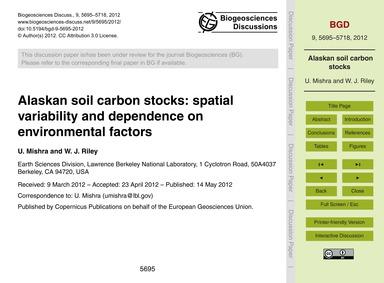 Alaskan Soil Carbon Stocks: Spatial Vari... by Mishra, U.