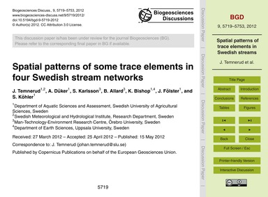 Spatial Patterns of Some Trace Elements ... by Temnerud, J.