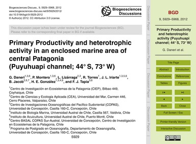Primary Productivity and Heterotrophic A... by Daneri, G.