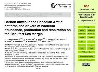 Carbon Fluxes in the Canadian Arctic: Pa... by Ortega-retuerta, E.