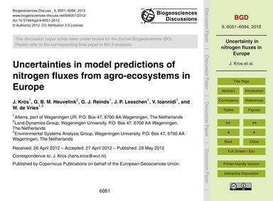 Uncertainties in Model Predictions of Ni... by Kros, J.