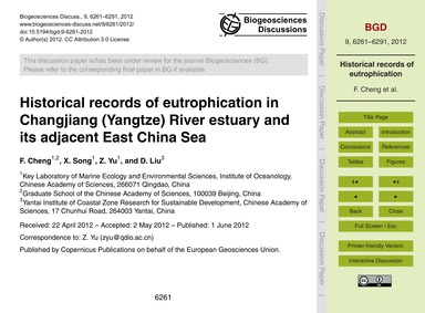 Historical Records of Eutrophication in ... by Cheng, F.