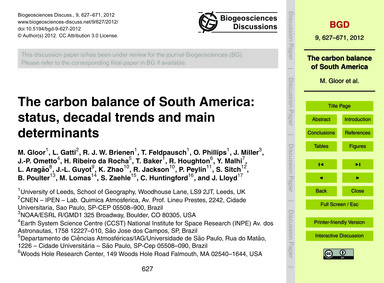 The Carbon Balance of South America: Sta... by Gloor, M.