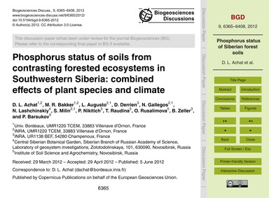 Phosphorus Status of Soils from Contrast... by Achat, D. L.