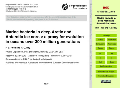 Marine Bacteria in Deep Arctic and Antar... by Price, P. B.