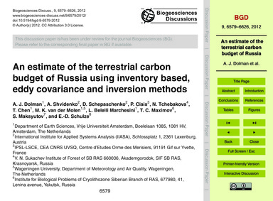 An Estimate of the Terrestrial Carbon Bu... by Dolman, A. J.