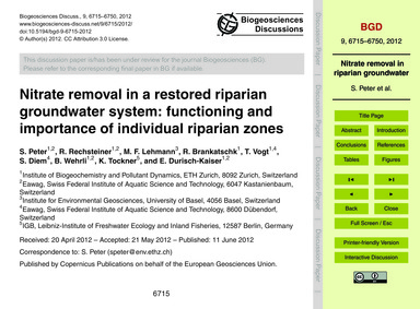 Nitrate Removal in a Restored Riparian G... by Peter, S.