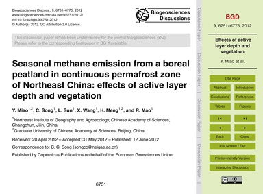 Seasonal Methane Emission from a Boreal ... by Miao, Y.