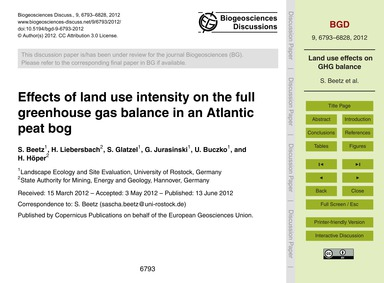 Effects of Land Use Intensity on the Ful... by Beetz, S.