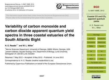 Variability of Carbon Monoxide and Carbo... by Reader, H. E.