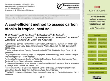 A Cost-efficient Method to Assess Carbon... by Warren, M. W.