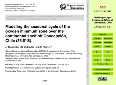 Modeling the Seasonal Cycle of the Oxyge... by Charpentier, J.