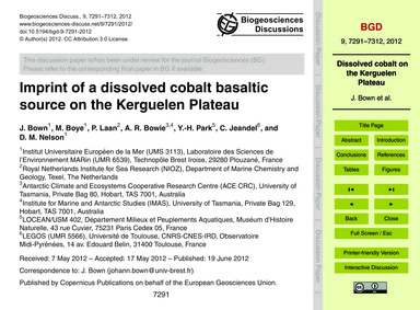 Imprint of a Dissolved Cobalt Basaltic S... by Bown, J.