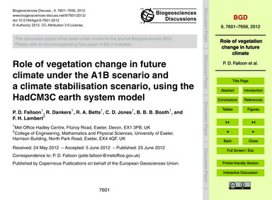 Role of Vegetation Change in Future Clim... by Falloon, P. D.