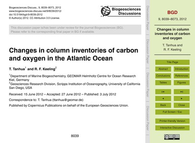 Changes in Column Inventories of Carbon ... by Tanhua, T.