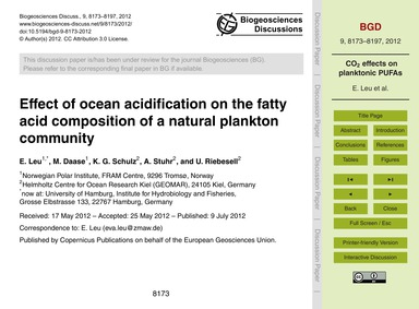 Effect of Ocean Acidification on the Fat... by Leu, E.