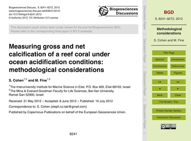 Measuring Gross and Net Calcification of... by Cohen, S.