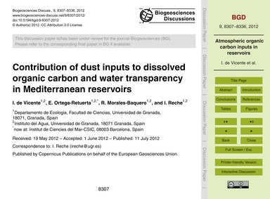 Contribution of Dust Inputs to Dissolved... by De Vicente, I.