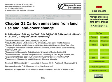 Chapter G2 Carbon Emissions from Land Us... by Houghton, R. A.