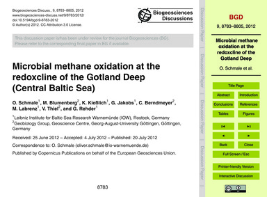 Microbial Methane Oxidation at the Redox... by Schmale, O.