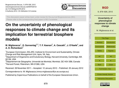 On the Uncertainty of Phenological Respo... by Migliavacca, M.