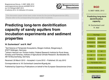 Predicting Long-term Denitrification Cap... by Eschenbach, W.