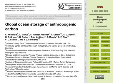 Global Ocean Storage of Anthropogenic Ca... by Khatiwala, S.
