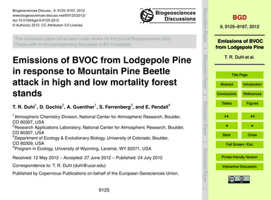 Emissions of Bvoc from Lodgepole Pine in... by Duhl, T. R.
