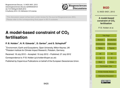 A Model-based Constraint of Co2 Fertilis... by Holden, P. B.