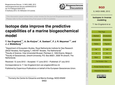 Isotope Data Improve the Predictive Capa... by Van Engeland, T.