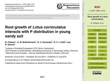 Root Growth of Lotus Corniculatus Intera... by Felderer, B.