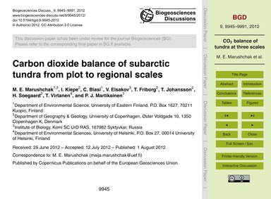Carbon Dioxide Balance of Subarctic Tund... by Marushchak, M. E.