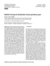 Radiative Forcings for 28 Potential Arch... by Byrne, B.
