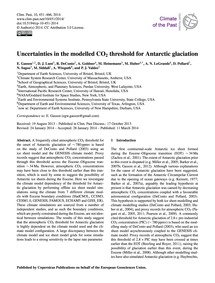 Uncertainties in the Modelled Co2 Thresh... by Gasson, E.