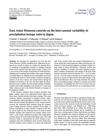 East Asian Monsoon Controls on the Inter... by Kurita, N.